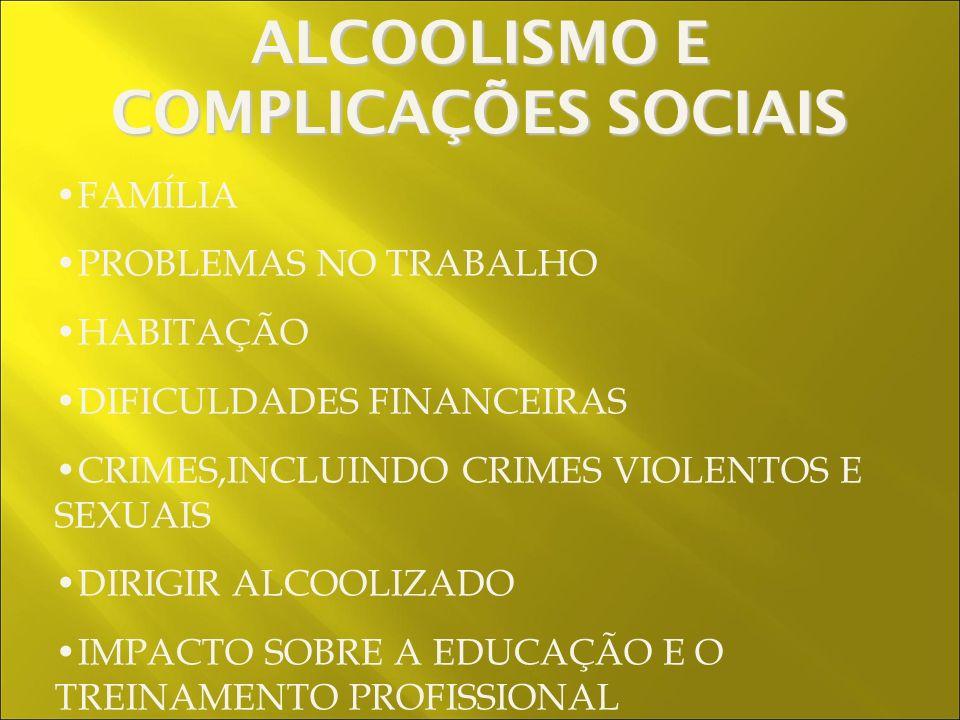 FAMÍLIA PROBLEMAS NO TRABALHO HABITAÇÃO DIFICULDADES FINANCEIRAS CRIMES,INCLUINDO CRIMES VIOLENTOS E SEXUAIS DIRIGIR ALCOOLIZADO IMPACTO SOBRE A EDUCAÇÃO E O TREINAMENTO PROFISSIONAL ALCOOLISMO E COMPLICAÇÕES SOCIAIS