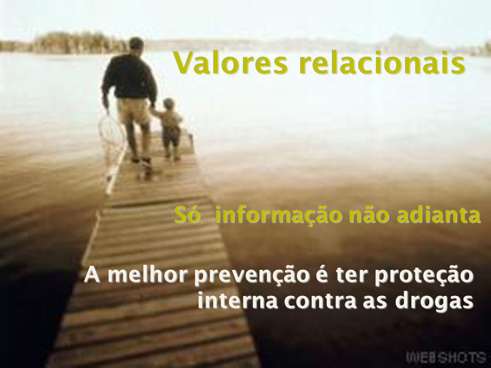 Valores relacionais Só informação não adianta A melhor prevenção é ter proteção interna contra as drogas