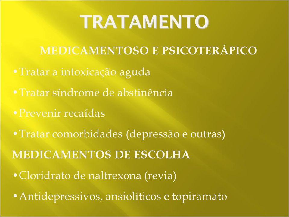 MEDICAMENTOSO E PSICOTERÁPICO Tratar a intoxicação aguda Tratar síndrome de abstinência Prevenir recaídas Tratar comorbidades (depressão e outras) MEDICAMENTOS DE ESCOLHA Cloridrato de naltrexona (revia) Antidepressivos, ansiolíticos e topiramato TRATAMENTO