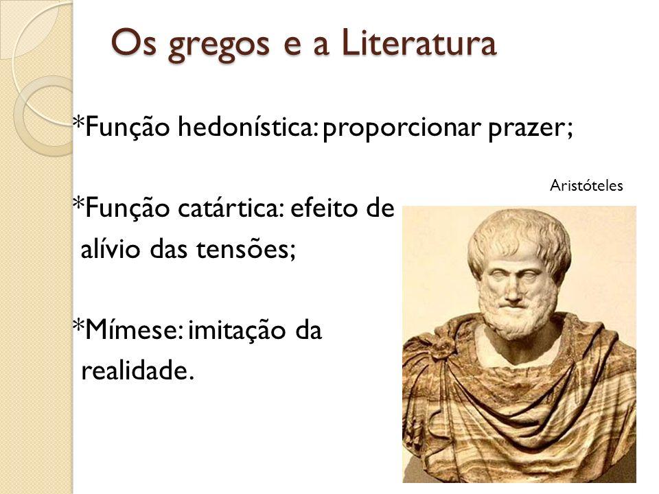 Os gregos e a Literatura *Função hedonística: proporcionar prazer; *Função catártica: efeito de alívio das tensões; *Mímese: imitação da realidade. Ar