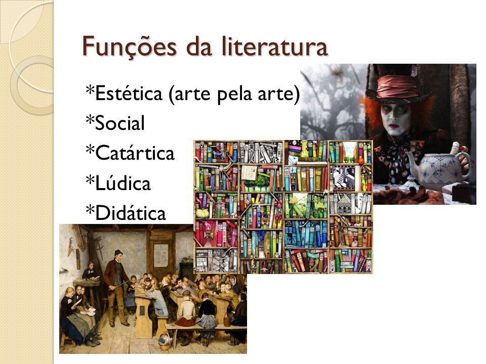 Funções da literatura *Estética (arte pela arte) *Social *Catártica *Lúdica *Didática