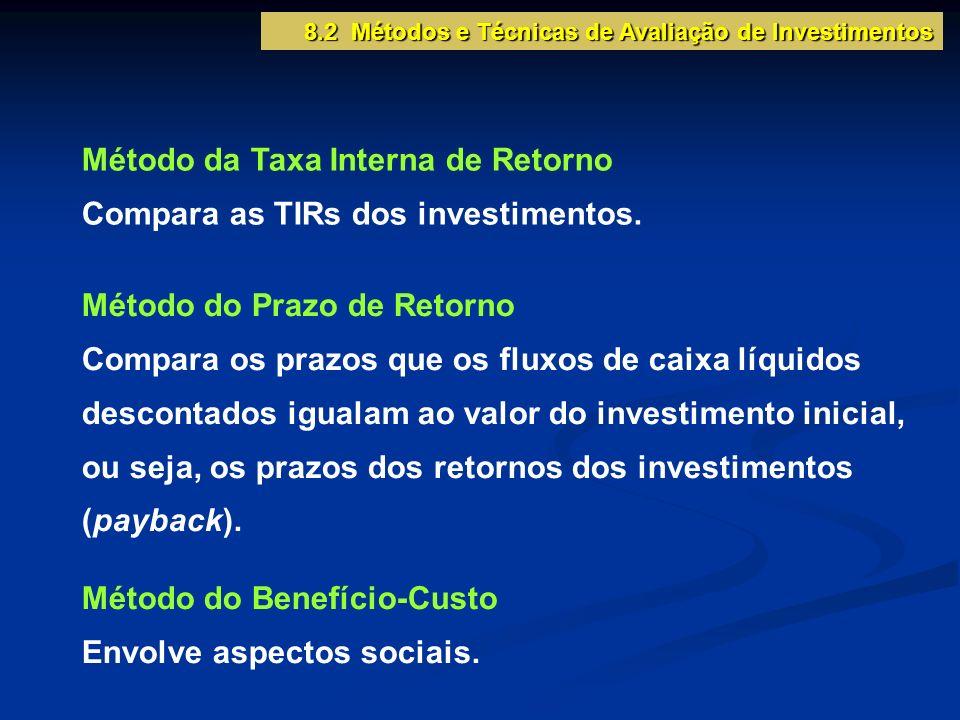 Método da Taxa Interna de Retorno Compara as TIRs dos investimentos. Método do Prazo de Retorno Compara os prazos que os fluxos de caixa líquidos desc