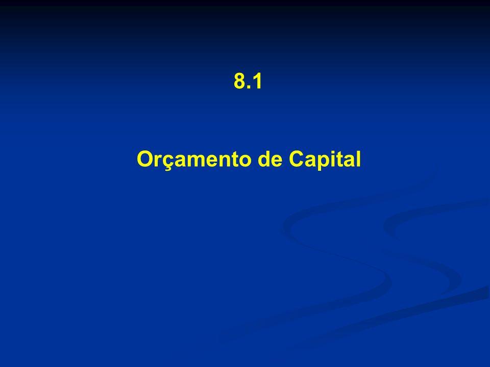 8.1 Orçamento de Capital Investimentos permanentes programa de aplicação de capital de longo prazo vinculado ao plano estratégico investimentos de natureza permanente aplicação em ativos que produzem resultado no longo prazo necessários para manutenção das atividades operacionais