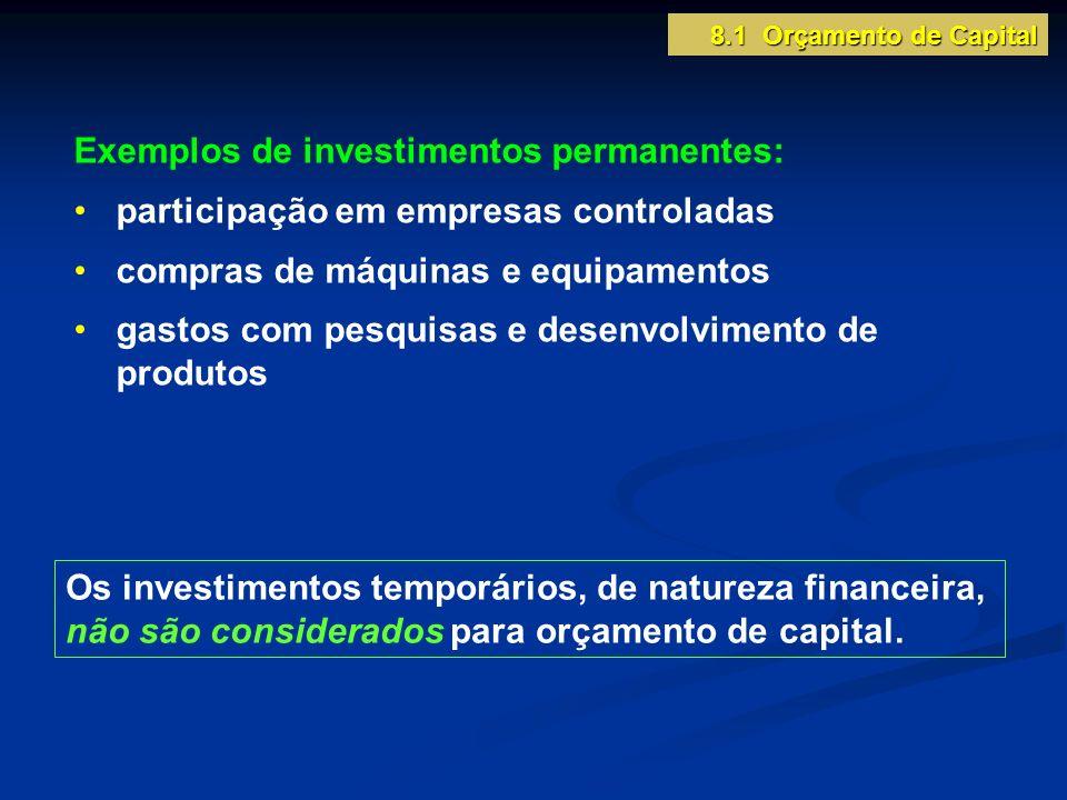 8.1 Orçamento de Capital Os investimentos temporários, de natureza financeira, não são considerados para orçamento de capital. Exemplos de investiment
