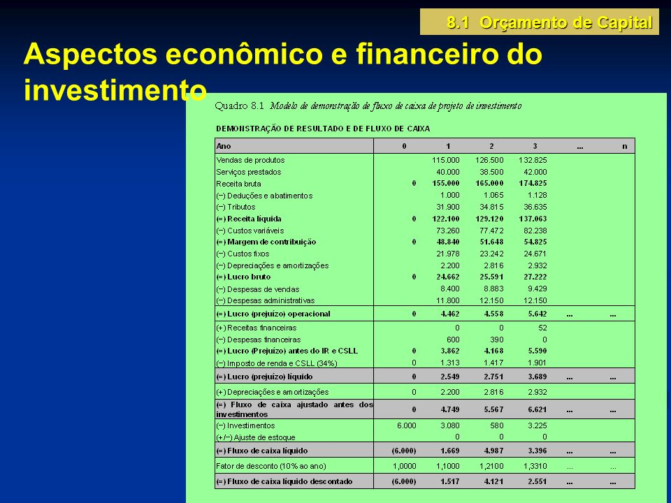 Aspectos econômico e financeiro do investimento 8.1 Orçamento de Capital
