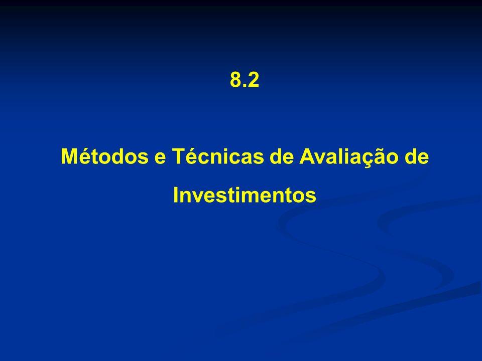 8.2 Métodos e Técnicas de Avaliação de Investimentos Métodos de avaliação de investimentos Método do Valor Presente Líquido Método do Valor Futuro Líquido Método do Valor Uniforme Líquido Método da Taxa Interna de Retorno Método do Prazo de Retorno Método do Benefício-Custo