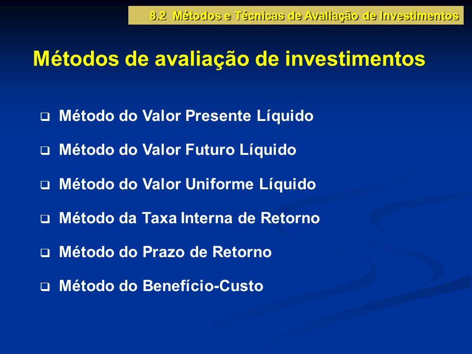 8.2 Métodos e Técnicas de Avaliação de Investimentos Métodos de avaliação de investimentos Método do Valor Presente Líquido Método do Valor Futuro Líq