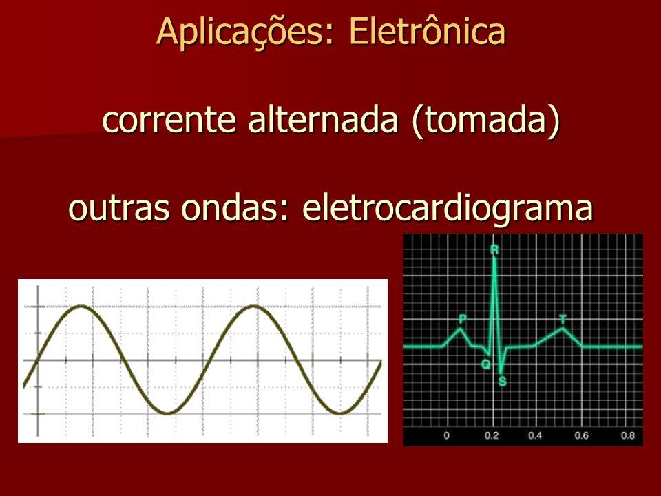 Aplicações: Eletrônica corrente alternada (tomada) outras ondas: eletrocardiograma