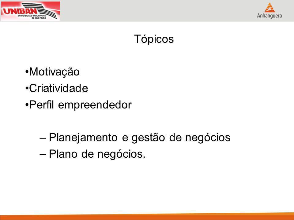 Tópicos Motivação Criatividade Perfil empreendedor –Planejamento e gestão de negócios –Plano de negócios.