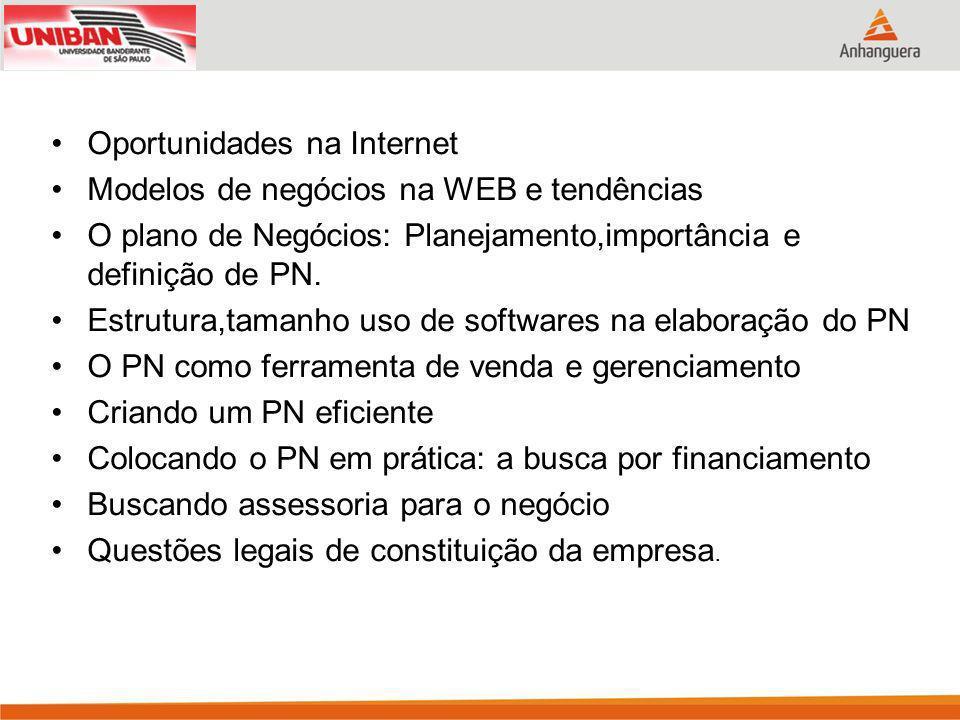 Oportunidades na Internet Modelos de negócios na WEB e tendências O plano de Negócios: Planejamento,importância e definição de PN.