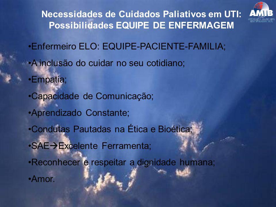 Necessidades de Cuidados Paliativos em UTI: Possibilidades EQUIPE DE ENFERMAGEM Enfermeiro ELO: EQUIPE-PACIENTE-FAMILIA; A inclusão do cuidar no seu c
