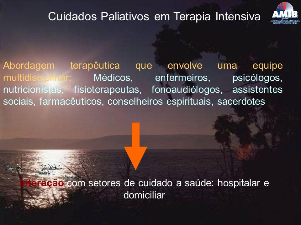 Cuidados Paliativos em Terapia Intensiva Abordagem terapêutica que envolve uma equipe multidisciplinar: Médicos, enfermeiros, psicólogos, nutricionist