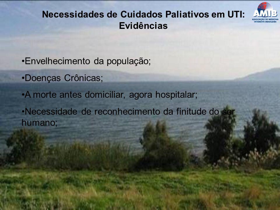 Necessidades de Cuidados Paliativos em UTI: Evidências Envelhecimento da população; Doenças Crônicas; A morte antes domiciliar, agora hospitalar; Nece