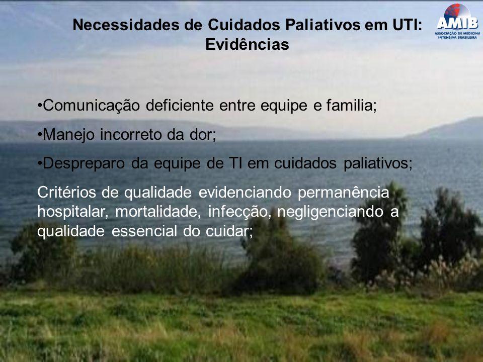 Necessidades de Cuidados Paliativos em UTI: Evidências Comunicação deficiente entre equipe e familia; Manejo incorreto da dor; Despreparo da equipe de