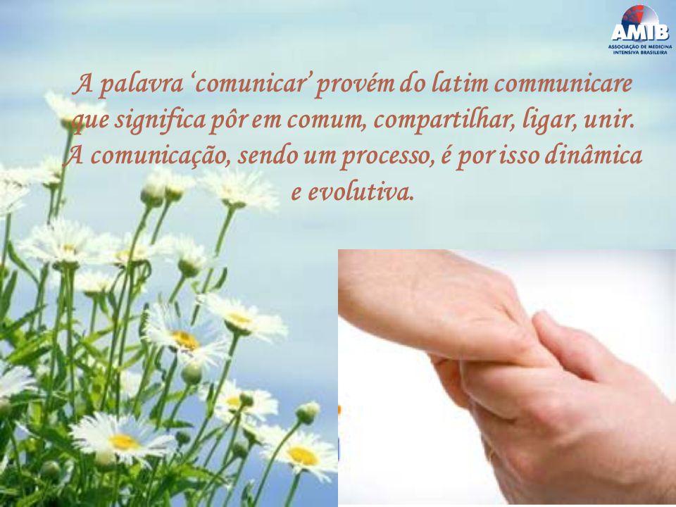 A palavra comunicar provém do latim communicare que significa pôr em comum, compartilhar, ligar, unir. A comunicação, sendo um processo, é por isso di