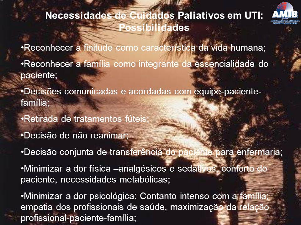 Necessidades de Cuidados Paliativos em UTI: Possibilidades Reconhecer a finitude como característica da vida humana; Reconhecer a família como integra