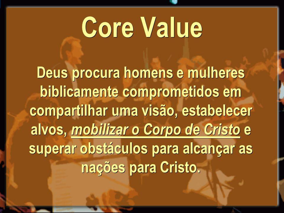 Core Value Deus procura homens e mulheres biblicamente comprometidos em compartilhar uma visão, estabelecer alvos, mobilizar o Corpo de Cristo e super