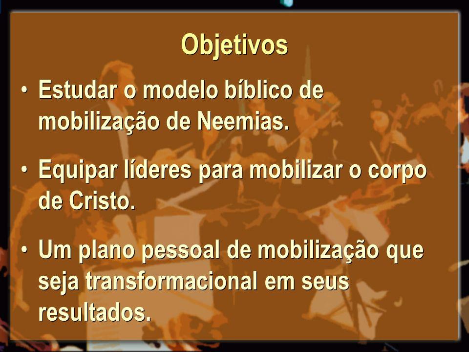 Objetivos Estudar o modelo bíblico de mobilização de Neemias. Equipar líderes para mobilizar o corpo de Cristo. Um plano pessoal de mobilização que se