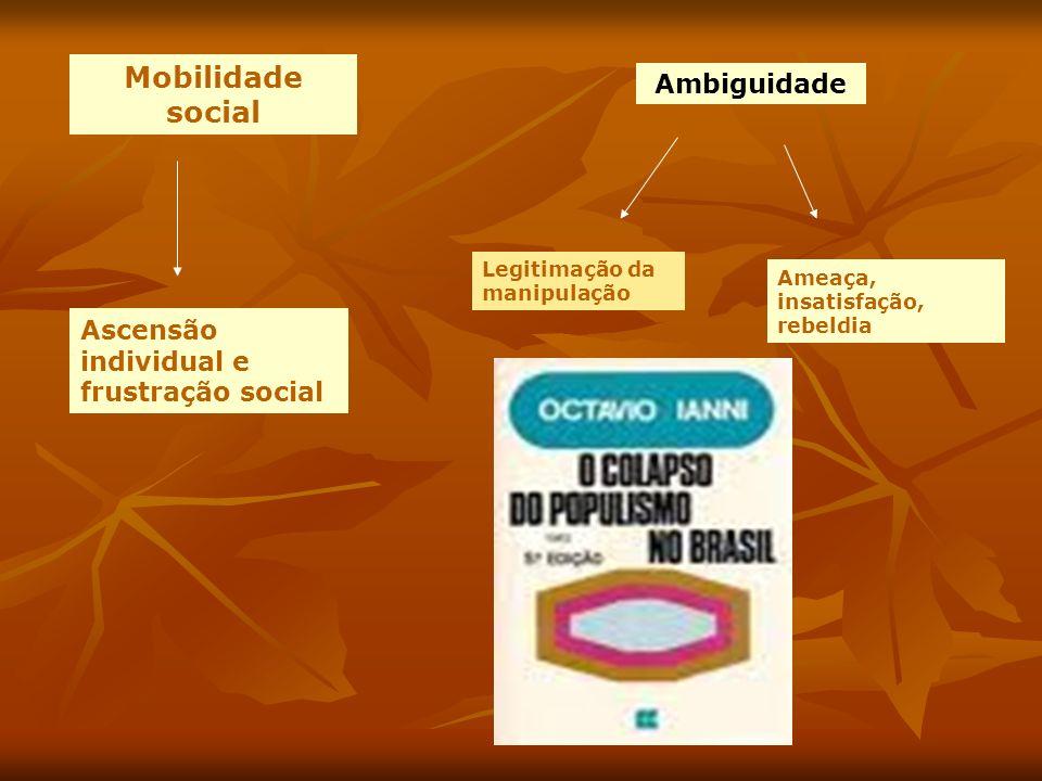 Mobilidade social Ascensão individual e frustração social Ambiguidade Legitimação da manipulação Ameaça, insatisfação, rebeldia