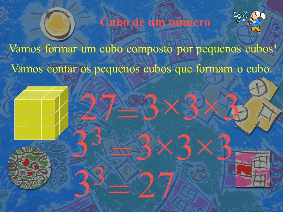 Cubo de um número Vamos formar um cubo composto por pequenos cubos.