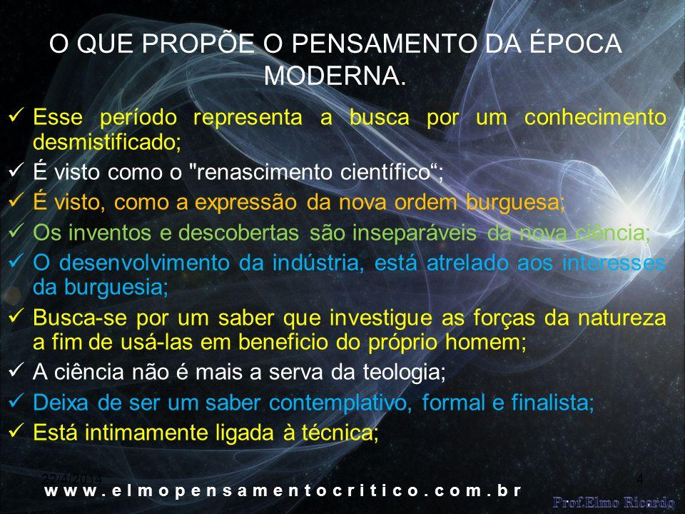 22/4/20144 O QUE PROPÕE O PENSAMENTO DA ÉPOCA MODERNA.