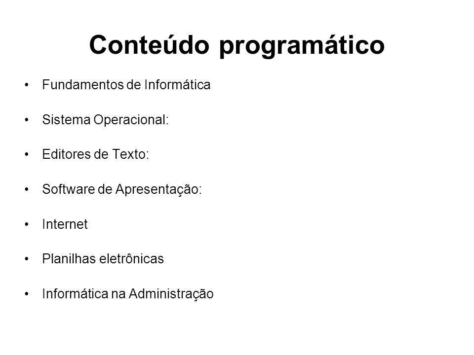 Conteúdo programático Fundamentos de Informática Sistema Operacional: Editores de Texto: Software de Apresentação: Internet Planilhas eletrônicas Info