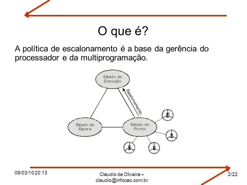 09/03/10 20:13 Claudio de Oliveira – claudio@infocao.com.br 2/22 O que é? A política de escalonamento é a base da gerência do processador e da multipr