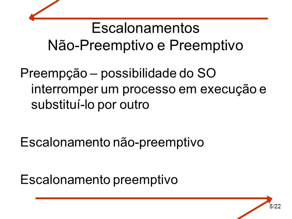 Escalonamentos Não-Preemptivo e Preemptivo Preempção – possibilidade do SO interromper um processo em execução e substituí-lo por outro Escalonamento