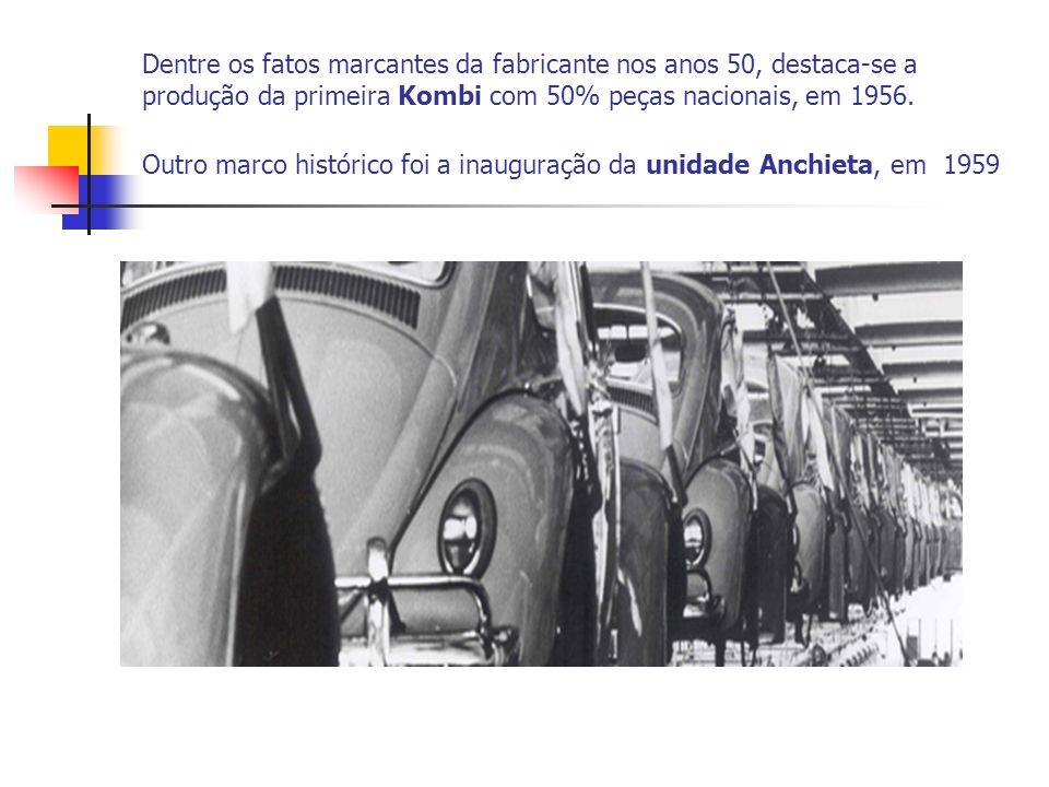 Dentre os fatos marcantes da fabricante nos anos 50, destaca-se a produção da primeira Kombi com 50% peças nacionais, em 1956. Outro marco histórico f