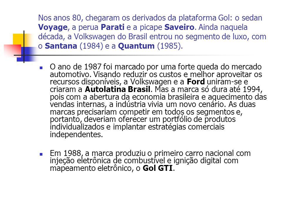 Nos anos 80, chegaram os derivados da plataforma Gol: o sedan Voyage, a perua Parati e a picape Saveiro. Ainda naquela década, a Volkswagen do Brasil