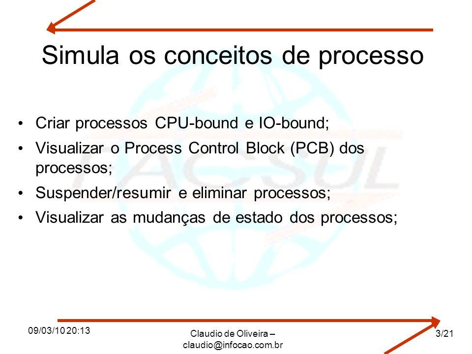 09/03/10 20:13 Claudio de Oliveira – claudio@infocao.com.br 3/21 Simula os conceitos de processo Criar processos CPU-bound e IO-bound; Visualizar o Pr