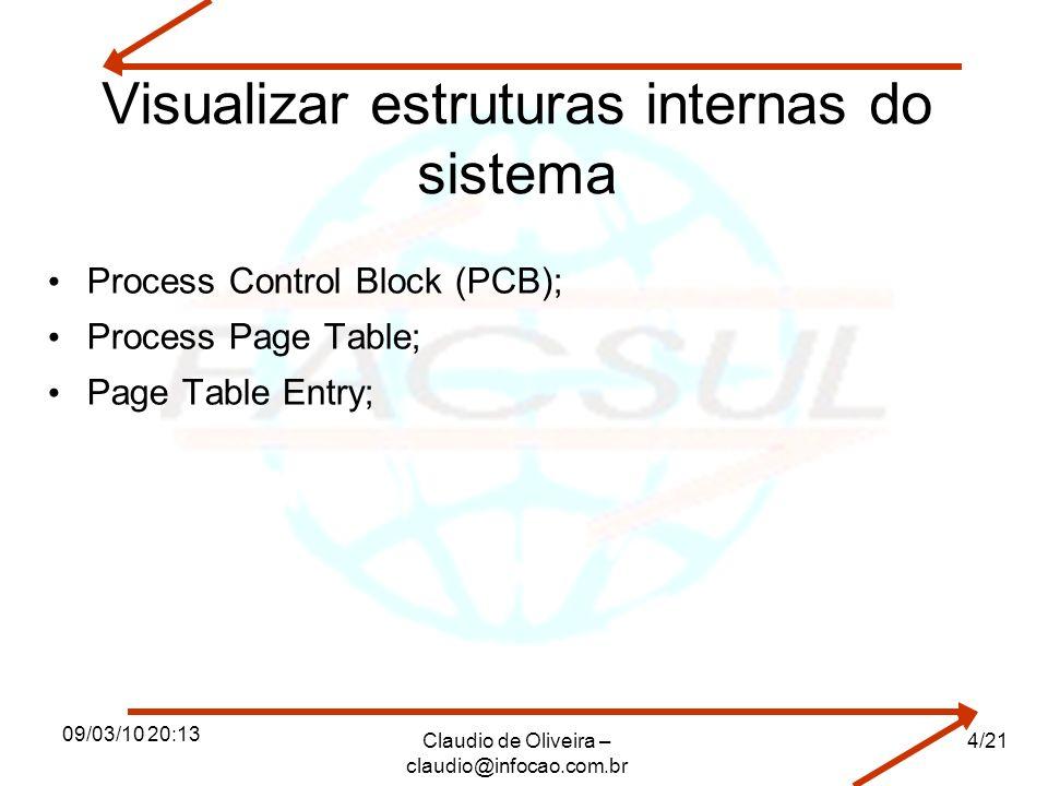 09/03/10 20:13 Claudio de Oliveira – claudio@infocao.com.br 4/21 Visualizar estruturas internas do sistema Process Control Block (PCB); Process Page T