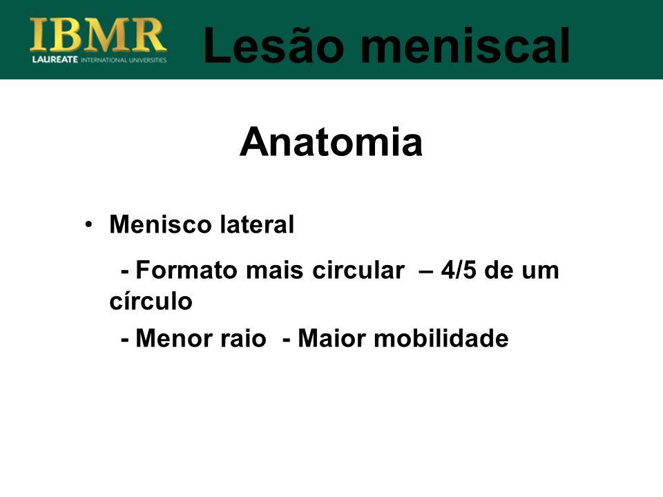 Anatomia Lesão meniscal Menisco lateral - Formato mais circular – 4/5 de um círculo - Menor raio - Maior mobilidade