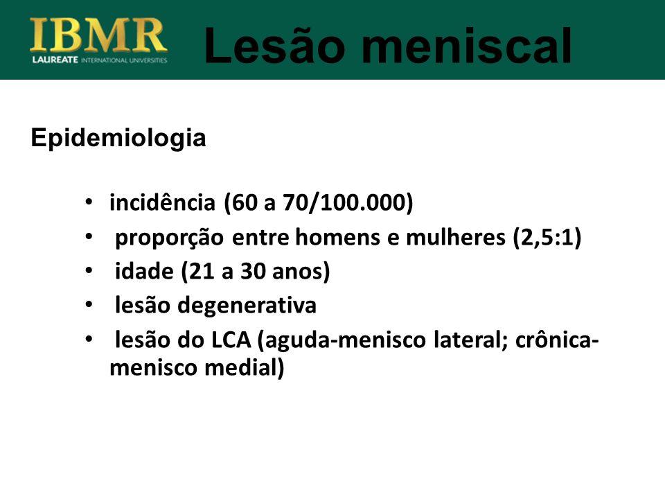 Lesão meniscal Epidemiologia incidência (60 a 70/100.000) proporção entre homens e mulheres (2,5:1) idade (21 a 30 anos) lesão degenerativa lesão do L