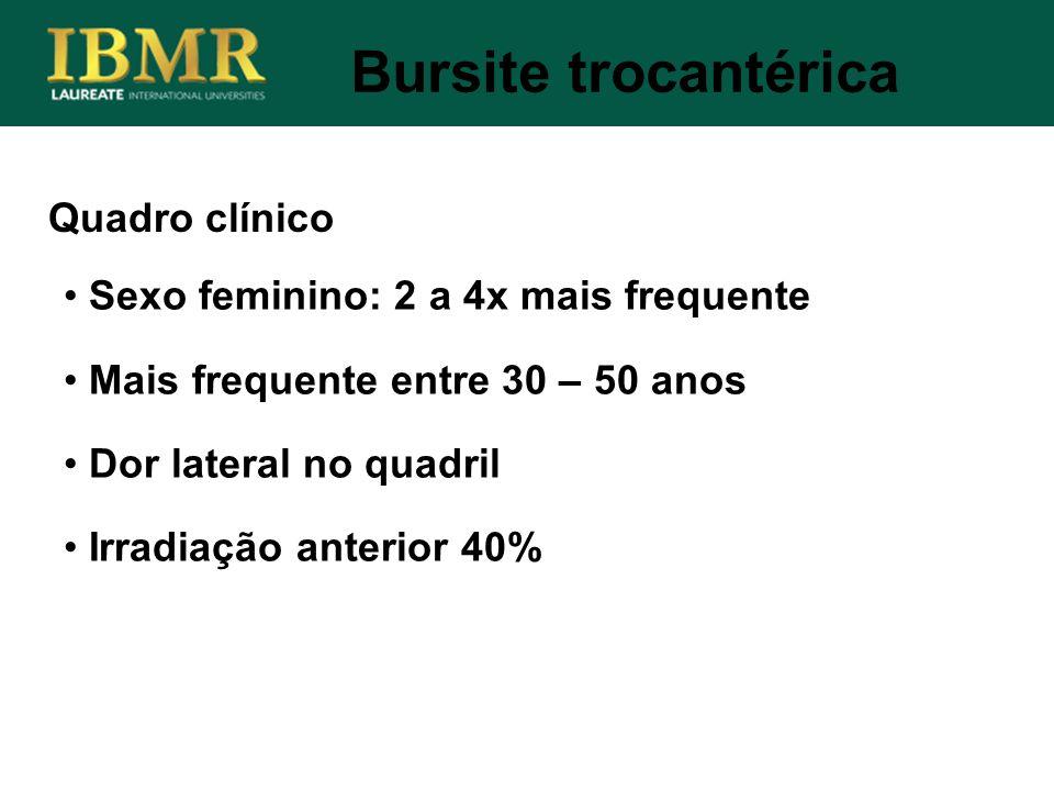 Bursite trocantérica Quadro clínico Sexo feminino: 2 a 4x mais frequente Mais frequente entre 30 – 50 anos Dor lateral no quadril Irradiação anterior