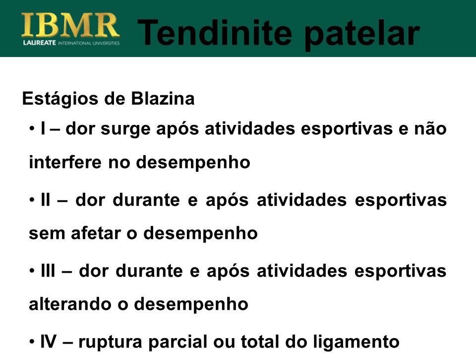 Estágios de Blazina Tendinite patelar I – dor surge após atividades esportivas e não interfere no desempenho II – dor durante e após atividades esport