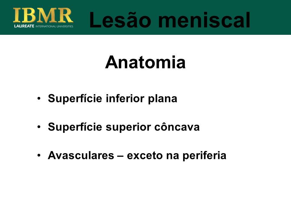 Superfície inferior plana Superfície superior côncava Avasculares – exceto na periferia Anatomia Lesão meniscal