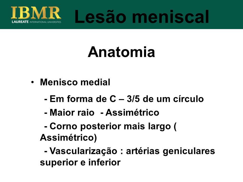 Anatomia Lesão meniscal Menisco medial - Em forma de C – 3/5 de um círculo - Maior raio - Assimétrico - Corno posterior mais largo ( Assimétrico) - Va