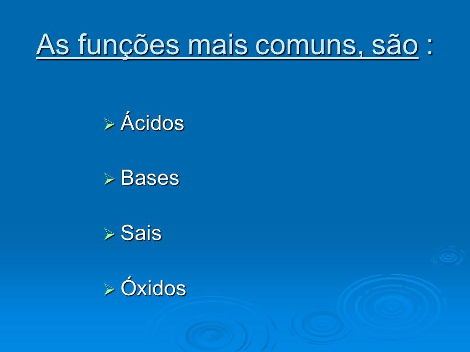 ÁCIDOS São substâncias com as seguintes São substâncias com as seguintes propriedades : Em solução aquosa, liberam íons H+ Em solução aquosa, liberam íons H+ Possuem sabor azedo ( quando comestíveis).