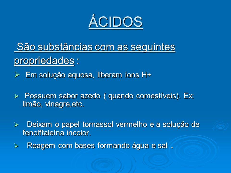 Classificação dos ácidos : Hidrácidos: não possuem oxigênio na molécula.