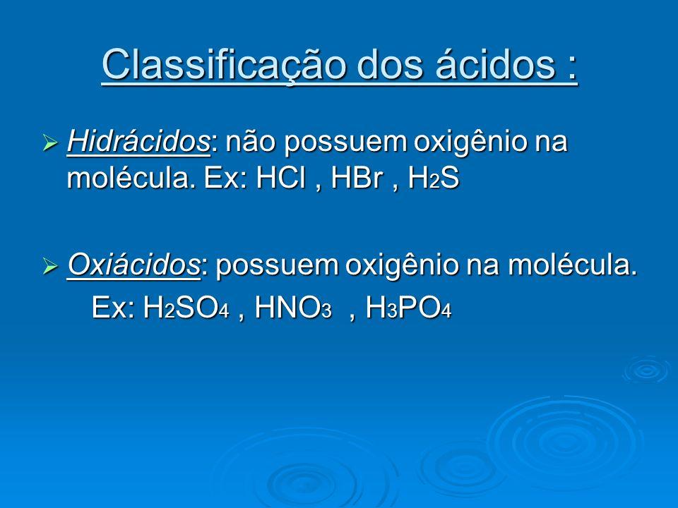 Nomenclatura dos ácidos : Os hidrácidos levam a terminação ÍDRICO Os hidrácidos levam a terminação ÍDRICO Ex : HCl = ácido clorídrico Ex : HCl = ácido clorídrico H 2 S = ácido sulfídrico H 2 S = ácido sulfídrico