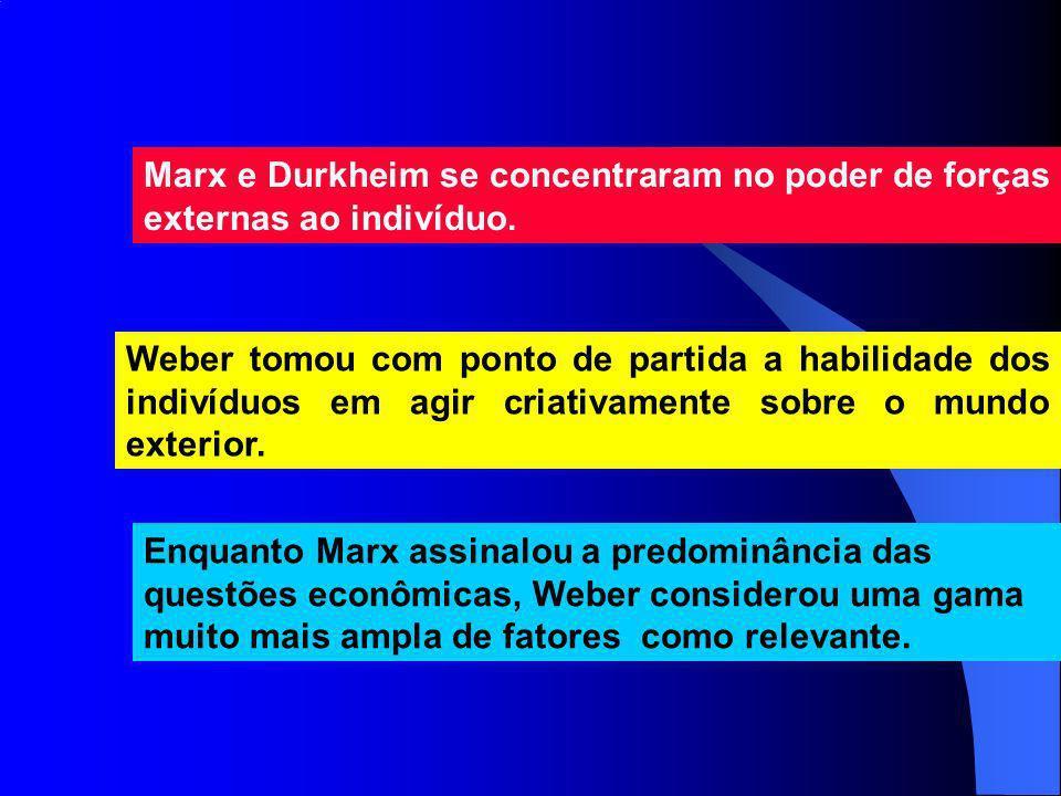 Marx e Durkheim se concentraram no poder de forças externas ao indivíduo. Weber tomou com ponto de partida a habilidade dos indivíduos em agir criativ