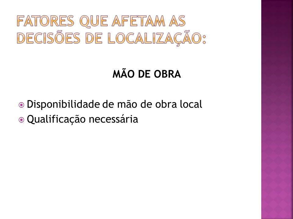 MÃO DE OBRA Disponibilidade de mão de obra local Qualificação necessária
