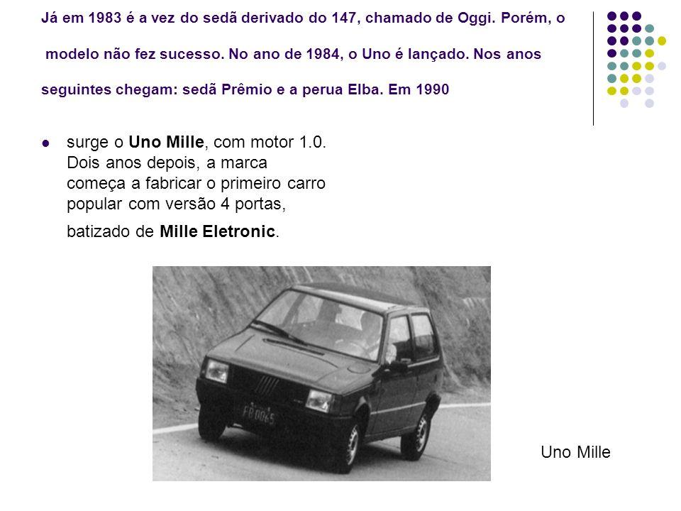 Já em 1983 é a vez do sedã derivado do 147, chamado de Oggi. Porém, o modelo não fez sucesso. No ano de 1984, o Uno é lançado. Nos anos seguintes cheg