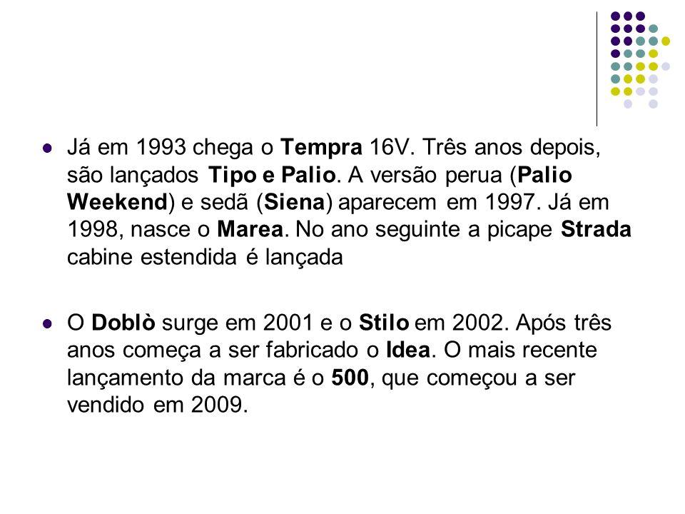 Já em 1993 chega o Tempra 16V. Três anos depois, são lançados Tipo e Palio. A versão perua (Palio Weekend) e sedã (Siena) aparecem em 1997. Já em 1998
