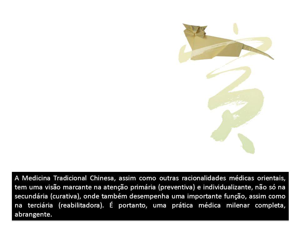 A Medicina Tradicional Chinesa, assim como outras racionalidades médicas orientais, tem uma visão marcante na atenção primária (preventiva) e individualizante, não só na secundária (curativa), onde também desempenha uma importante função, assim como na terciária (reabilitadora).
