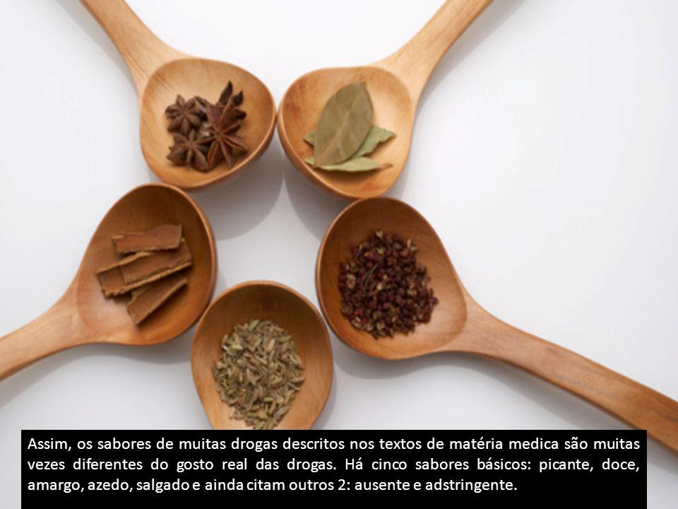 Assim, os sabores de muitas drogas descritos nos textos de matéria medica são muitas vezes diferentes do gosto real das drogas.
