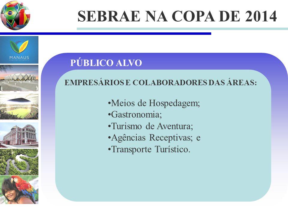 SEBRAE NA COPA DE 2014 EMPRESÁRIOS E COLABORADORES DAS ÁREAS: Meios de Hospedagem; Gastronomia; Turismo de Aventura; Agências Receptivas; e Transporte Turístico.