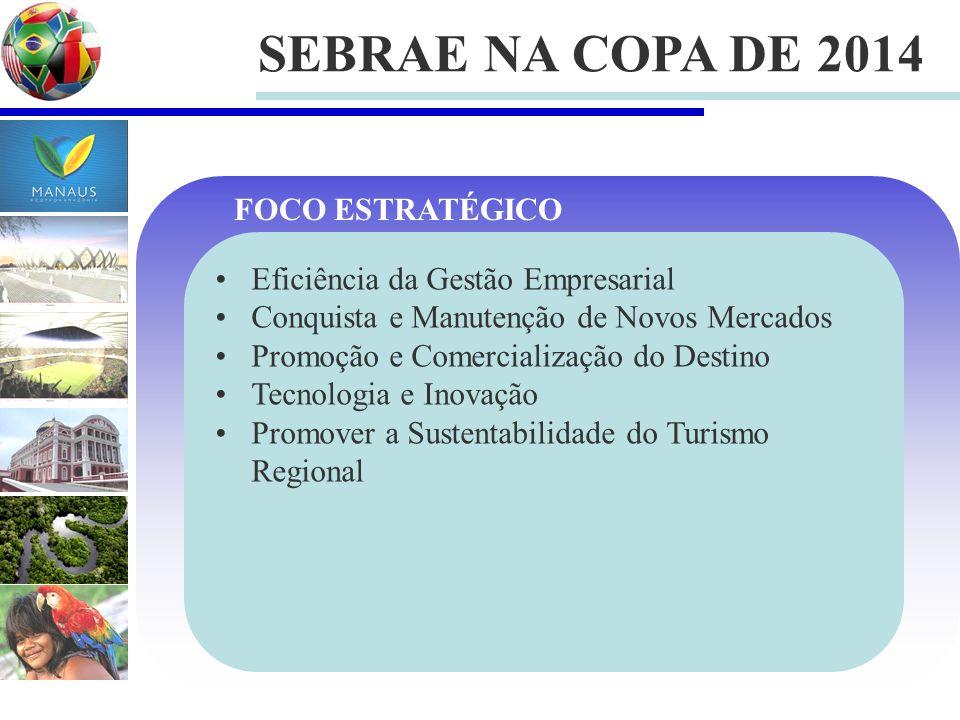 SEBRAE NA COPA DE 2014 Eficiência da Gestão Empresarial Conquista e Manutenção de Novos Mercados Promoção e Comercialização do Destino Tecnologia e In