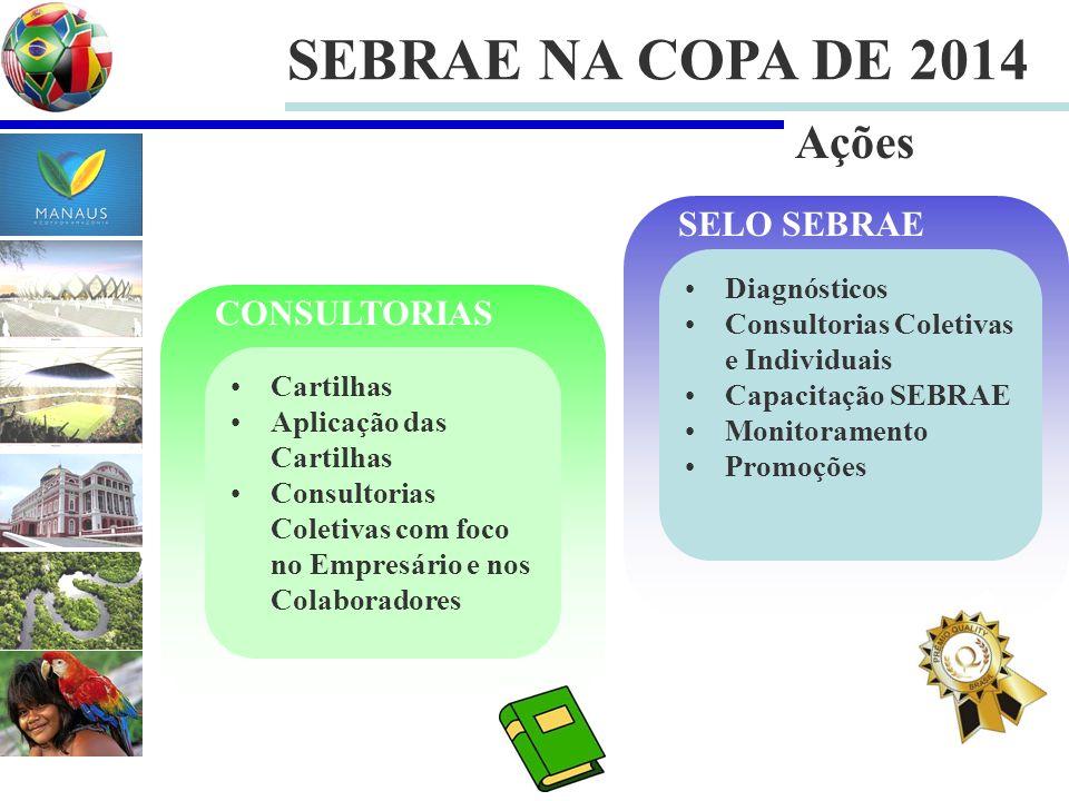 SEBRAE NA COPA DE 2014 Diagnósticos Consultorias Coletivas e Individuais Capacitação SEBRAE Monitoramento Promoções SELO SEBRAE Cartilhas Aplicação da
